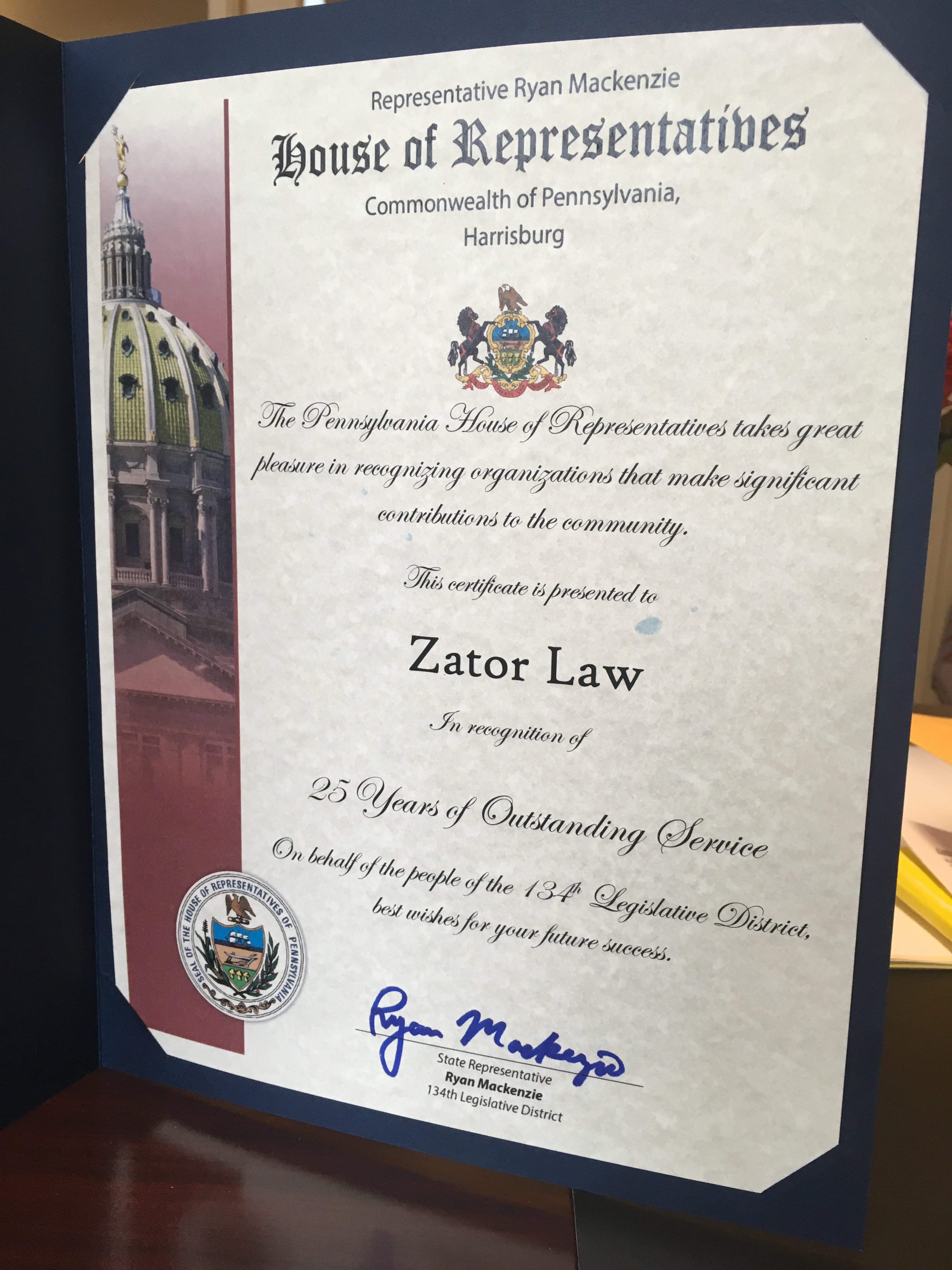 PA House Recognizes Zator Law for 25 years of Service